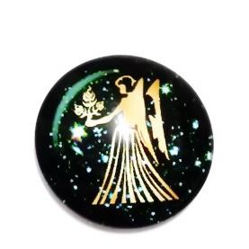 Cabochon sticla zodiac, FECIOARA, 14x4mm  1 buc