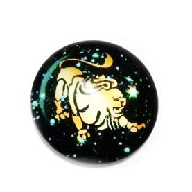 Cabochon sticla zodiac, LEU, 14x4mm  1 buc