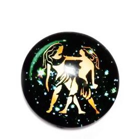Cabochon sticla zodiac, GEMENI, 14x4mm  1 buc