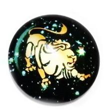 Cabochon sticla zodiac, LEU, 25x6mm  1 buc