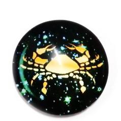 Cabochon sticla zodiac, RAC, 25x6mm  1 buc