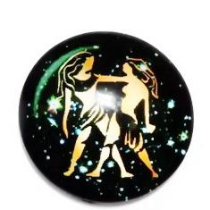 Cabochon sticla zodiac, GEMENI, 25x6mm  1 buc