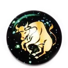 Cabochon sticla zodiac, TAUR, 25x6mm  1 buc