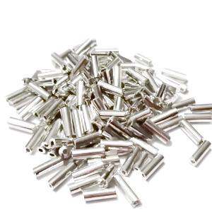 Margele tubulare, argintii cu aspect metalizat, 6mm 20 g