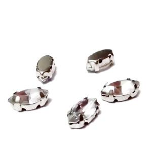 Margele montee rhinestone, plastic, transparente, ochi de cal, 10x5x4mm 1 buc