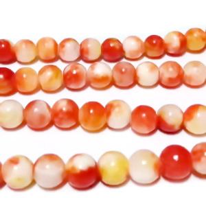 Jad translucid, portocaliu inchis cu alb, 6mm 1 buc