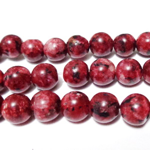 Labradonit colorat rosu inchis, 8-8.5mm 1 buc