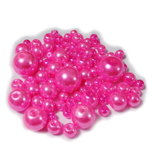 Mix perle sticla roz intens, 4-12 mm 25 g