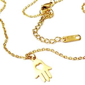 Lant otel inoxidabil 304, auriu, lungime 40cm, zale 2x1.5mm, pandantiv mana Hamsa, cu inchizatoare 1 buc