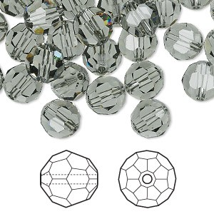 Swarovski Elements, Faceted Round 5000-Black Diamond, 4mm 1 buc