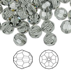 Swarovski Elements, Faceted Round 5000-Black Diamond, 6mm 1 buc