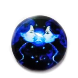 Cabochon sticla zodiac, albastru, GEMENI, 12x4mm  1 buc