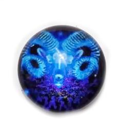 Cabochon sticla zodiac, albastru, BERBEC, 12x4mm  1 buc