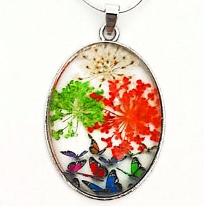 Pandantiv  metalic, 52x32x9mm, cabochon sticla 40x30mm, flori multicolore, model 1 1 buc