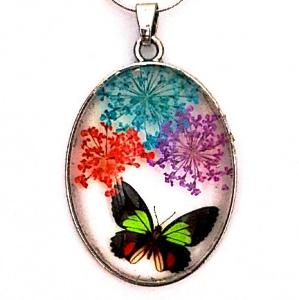 Pandantiv  metalic, 52x32x9mm, cabochon sticla 40x30mm, flori multicolore, model 4 1 buc