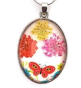 Pandantiv  metalic, 52x32x9mm, cabochon sticla 40x30mm, flori multicolore, model 6 1 buc