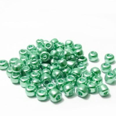 Margele nisip, verde deschis, metalizate, 4mm 20 g