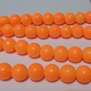 Margele sticla, portocaliu intens, 8mm 10 buc