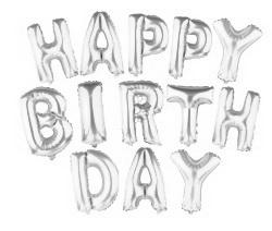 Set 13 baloare argintii, Happy Birthday, inaltime 40cm 1 set