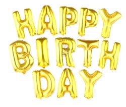 Set 13 baloare aurii, Happy Birthday, inaltime 40cm 1 set