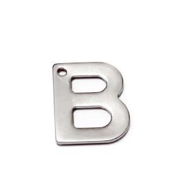 Pandantiv otel inoxidabil 304, litera B, 11x5.5x0.5mm 1 buc