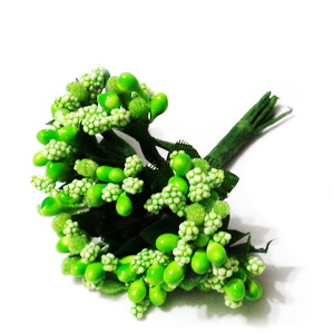 Buchet 12 flori verzi, din stamine, 7-8 cm 1 buc