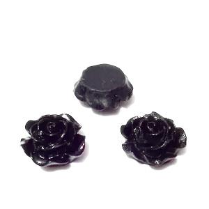 Cabochon rasina, floare neagra, 15x7mm 1 buc