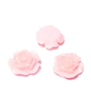Cabochon rasina, floare roz, 15x7mm 1 buc