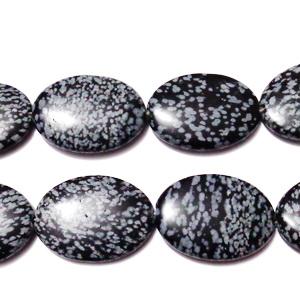 Obsidian fulg de nea, plat, 30x22x5mm 1 buc