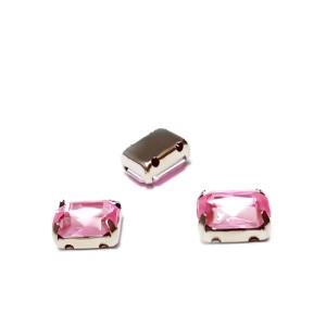 Margele montee rhinestone, plastic, roz, dreptunghiulare, 8x6x4mm 1 buc