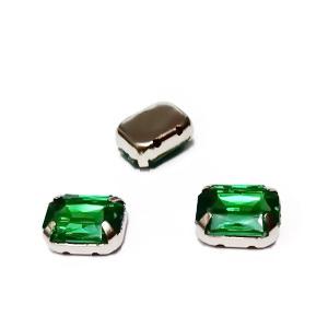 Margele montee rhinestone, plastic, verzi, dreptunghiulare, 10x8x4.5mm 1 buc