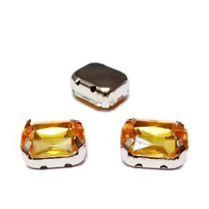 Margele montee rhinestone, plastic, portocalii, dreptunghiulare, 10x8x4.5mm 1 buc