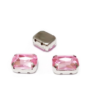 Margele montee rhinestone, plastic, roz, dreptunghiulare, 10x8x4.5mm 1 buc