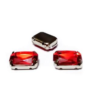 Margele montee rhinestone, plastic, rosii, dreptunghiulare, 14x10x5mm 1 buc