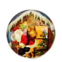 Cabochon sticla ,,Craciun'', 20 mm, model 5 1 buc