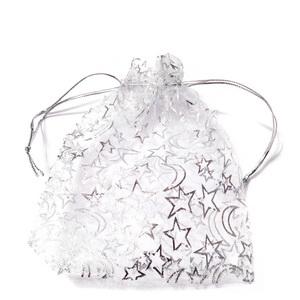 Saculeti organza albi cu stelute argintii, 12x9.5cm, interior 9x9cm 1 buc