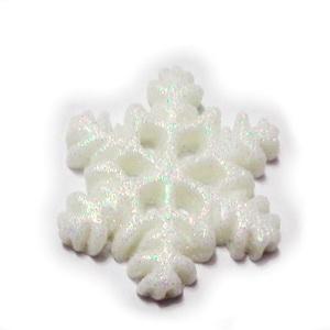 Cabochon rasina alba cu glitter, fulg 20x18x3mm 1 buc