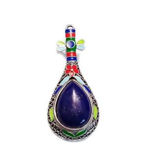 Pandantiv/brosa emailat, multicolor, cu cabochon Lapis Lazuli, 66x28mm 1 buc