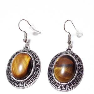 Cercei argintii cu pandantiv tibetan, oval, cabochon ochi de tigru 1 pereche
