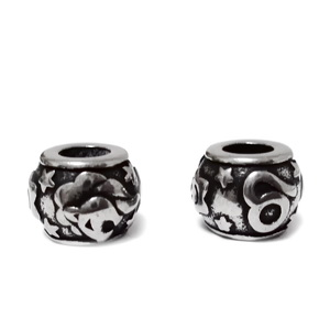Margele otel inoxidabil 316, stil Pandora, cu aspect tibetan, 11x9mm, zodiac, leu 1 buc