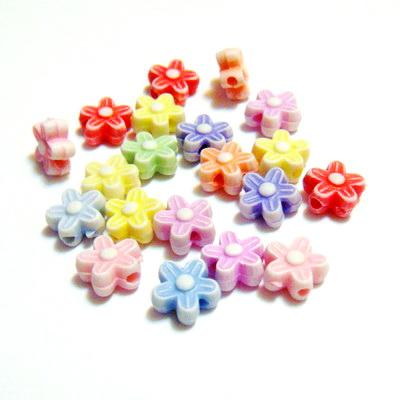Mix margele plastic, floricele 9x4mm-5gr(cca 30buc) 30 buc