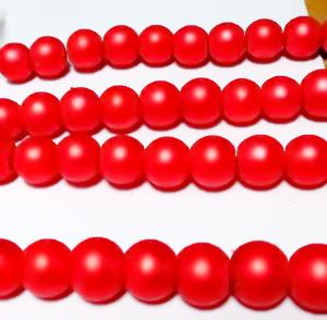 Perle sticla, mate, rosii, 8mm 10 buc