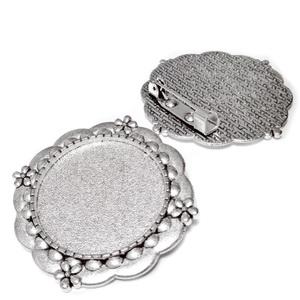 Baza cabochon, argint tibetan, brosa 34mm, interior 25mm 1 buc