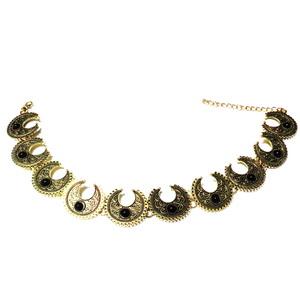 Zgardan auriu antic cu cabochon negru, 31cm 1 buc
