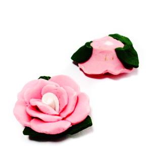 Cabochon portelan, floare roz, 26~27x24~25x12~14mm 1 buc