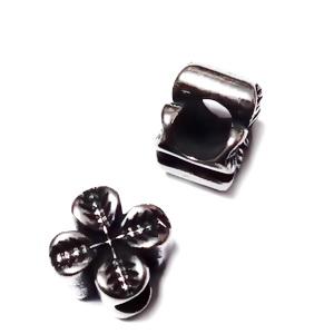 Margele otel inoxidabil 304, stil Pandora, cu aspect tibetan, trifoi cu 4 foi, 10x11x8mm 1 buc