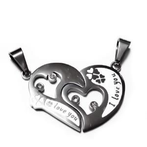 2 pandantive inima franta, otel inoxidabil 304, cu rhinestone, 25x37x2.5mm 1 set