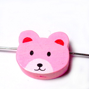 Margele lemn, roz, ursulet 15x16x8mm 1 buc