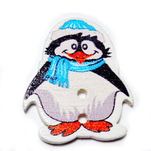 Nasturi lemn, pinguin cu fular bleu, 29x25x2.5mm 1 buc