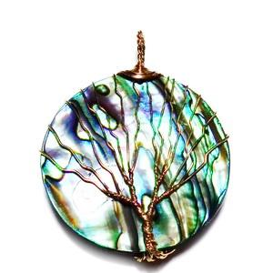 Pandantiv scoica Paua, rotund, cu sarma modelaj cupru, copacul vietii, 52x40x4mm 1 buc
